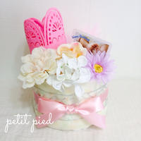 おむつケーキ1段(crown)pink