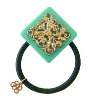 vintage motif hair elastic  blue green