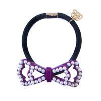 chloe ribbon pearl hair elastic  bordeaux