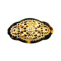 vintage motif barrette  brown