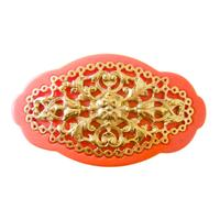 vintage motif barrette  orange