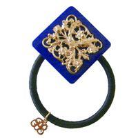 vintage motif hair elastic  navy