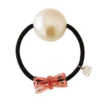 catherine bow and pearl hair elastic pink