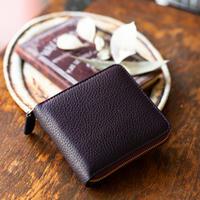 ラウンドファスナー二つ折り財布 ボックス小銭入れタイプ トリヨンクレマンス/レザン×シェーブル/レザン