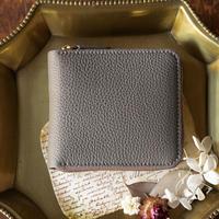 ラウンドファスナー二つ折り財布 ボックス小銭入れタイプ トリヨンクレマンス/エトゥープ