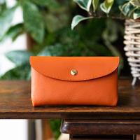 やわらかなレザーフラップ長財布 シェーブル/オレンジ