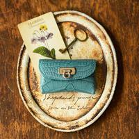 やわらかなレザーフラップmini財布  クロコダイル/ブルージーン