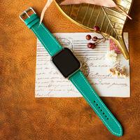 Apple Watch レザーベルト(44MM/40MM) ヴォー・エプソン/ブルーパオンxヴォー・バレニア/ゴールド