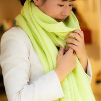 【受注販売】カシミヤニットストール(ラージ)シトロン【10/15まで】