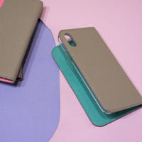 【iPhoneシリーズ対応】手帳型レザーiPhoneケース トゥルティエールグレーxミントグリーン