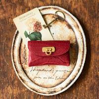 やわらかなレザーフラップmini財布  クロコダイル/ワインレッド