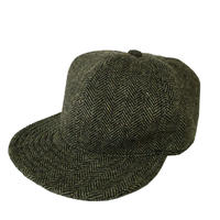 【在庫あり】SNAP BACK CAP HERRINGBONE WOOL SMOKE GREEN (SIZE M)