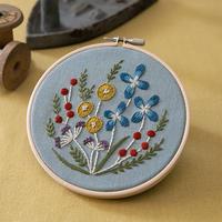 Alice Makabe 野の花の刺繍フレーム Light blue