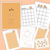 7月マンスリーセット&シールシート【A5手帳リフィル】厚紙タイプ