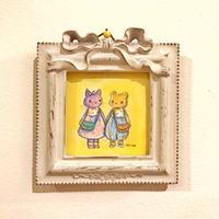 """ミニミニ原画""""-DreamyFriends-なかよしネコちゃんとクマちゃん""""(額付き)"""