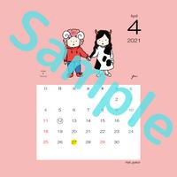 【スクエア】星座カレンダー4月(新月、満月マーク付)