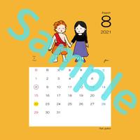 【スクエア】星座カレンダー8月(新月、満月マーク付)