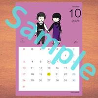 【A4】星座カレンダー10月(新月、満月マーク付)