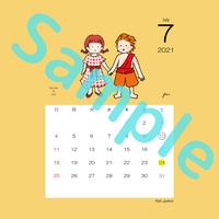 【スクエア】星座カレンダー7月(新月、満月マーク付)