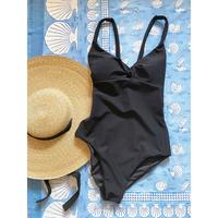 Corally Swim / Seersucker front twist onepiece ( black )