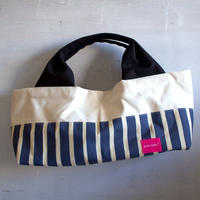 柄は画像通り!boat shape tote bag / blue stripe