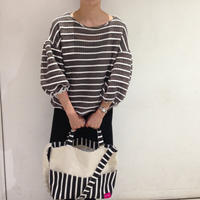 柄は画像通り!2way tote bag -black stripe