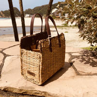 ecoRAL Straw bag with lether handle