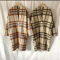 wool big check coat