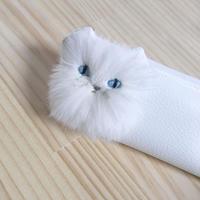 歯ブラシ入れにもペンケースにも まっ白猫のスリムケース【受注製作】Pinpignon チンチラ猫モチーフ