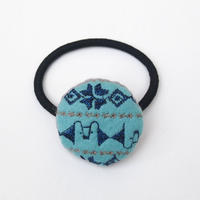 刺繍模様のフェルトまるヘアゴム001号【受注生産】