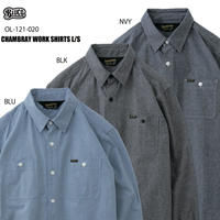 BLUCO(ブルコ)OL-121-020 CHAMBRAY WORK SHIRTS L/S 全3色(ブルー・ブラック・ネイビー)