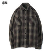 BLUCO(ブルコ) OL-047-019 HEAVY NEL SHIRTS -ombre check-BRN