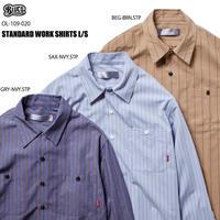 BLUCO(ブルコ)OL-109-020 STD WORK SHIRTS S/S 全3色(ベージュxST・サックスxST・グレーxST)