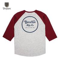 BRIXTON(ブリクストン) WHEELER 3/4 SLEEVE TEE バーガンディ