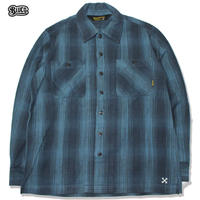 BLUCO(ブルコ) OL-047-019 HEAVY NEL SHIRTS -ombre check-BLUE
