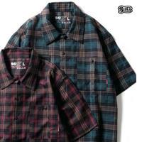 BLUCO(ブルコ)OL-108PC-018 WORK SHIRTS S/S -P.Check- 全3色(グレー・ネイビー・レッド)