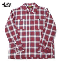 BLUCO(ブルコ)OL-047-018 OMBRE CHECK SHIRTS レッド