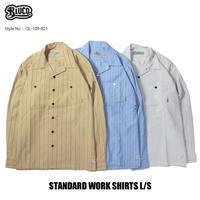 BLUCO(ブルコ)OL-109-021 STD WORK SHIRTS L/S 全3色(ベージュxST・サックスxST・グレーxST)