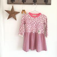 【子供服100】ウエストギャザーワンピ*ピンクのラメリボン*
