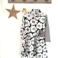【子供服120】ウエストギャザーワンピ*白黒のお花*