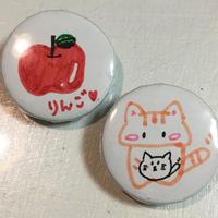 あすか:缶バッジ③:りんご/猫【2個セット・特典付】《10/11@キャスラボ》