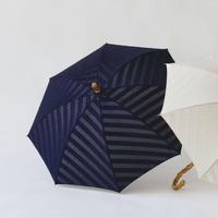 晴雨兼用傘 ジャガード スラントライン ネイビー