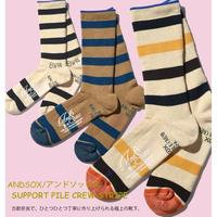 ANDSOX アンドソックス ソックス メンズ 靴下 メンズ レディース マウンテンソックス アウトドアソックス SUPPORT PILE CREW STRIPE