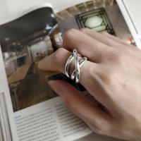 [silver925] line cross ring