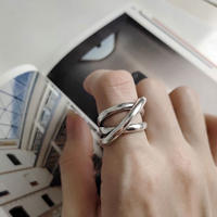last1 [silver925] line cross ring