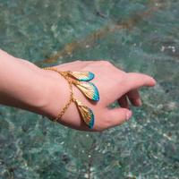 【蝉】Cicada Bracelet - Gold Blue -