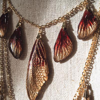 【蝉】Cicada Necklace - 5 Red Gold -