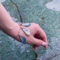 【蝉】Cicada Bracelet - Silver Blue -