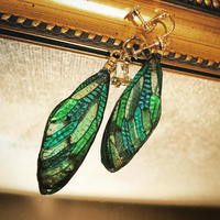 【蝉】Cicada Earring -Stained Glass Green-