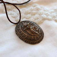 vintage silver necklace with leather chain